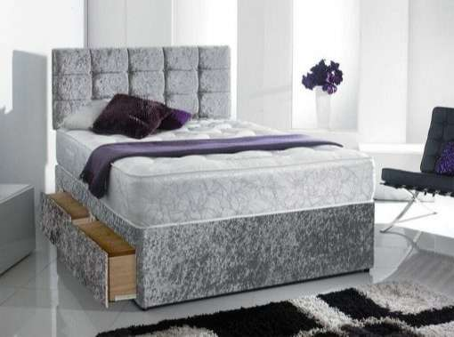 Complete Silver Velvet Divan Bed + Headboard Included + Mattress Included + 2 Draws Included + FREE DELIVERY