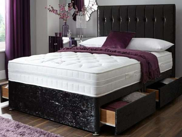 Complete Black Velvet Divan Bed + Headboard Included + Mattress Included + 2 Draws Included + FREE DELIVERY