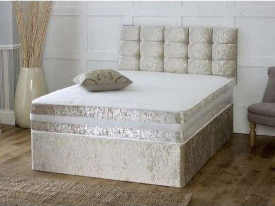 Complete Gold Velvet Divan Bed + Headboard Included + Mattress Included + 2 Draws Included + FREE DELIVERY